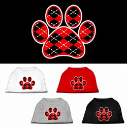 Argyle Paw Red Screen Print Pet Shirt