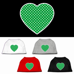 Green Swiss Dot Heart Screen Print Pet Shirt