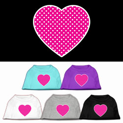 Pink Swiss Dot Heart Screen Print Pet Shirt