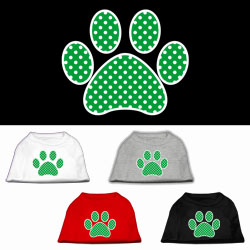 Green Swiss Dot Paw Screen Print Pet Shirt