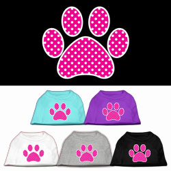 Pink Swiss Dot Paw Screen Print Pet Shirt