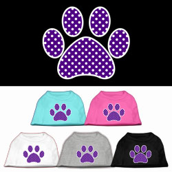Purple Swiss Dot Paw Screen Print Pet Shirt