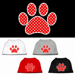 Red Swiss Dot Paw Screen Print Pet Shirt