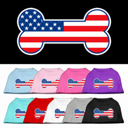Bone Shaped American Flag Screen Print Pet Shirts