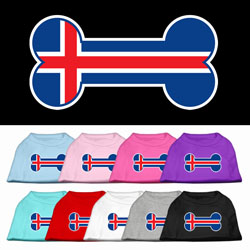 Bone Shaped Iceland Flag Screen Print Pet Shirts