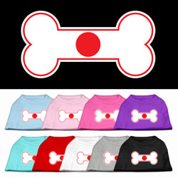 Bone Shaped Japan Flag Screen Print Pet Shirts