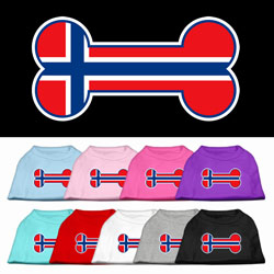 Bone Shaped Norway Flag Screen Print Pet Shirts