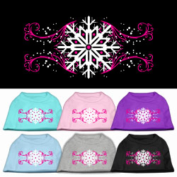 Pink Snowflake Swirls ScreenPrint Pet Shirts