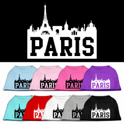 Paris Skyline Screen Print Pet Shirt