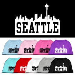 Seattle Skyline Screen Print Pet Shirt