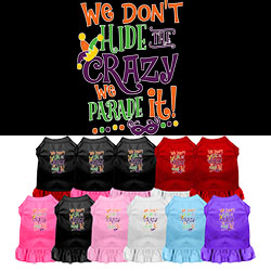 We Don't Hide the Crazy Screen Print Mardi Gras Dog Dress