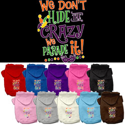 We Don't Hide the Crazy Screen Print Mardi Gras Dog Hoodie