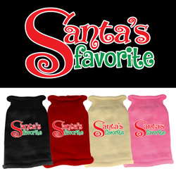 Santas Favorite Screen Print Knit Pet Sweater