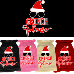 Grinch Please Screen Print Knit Pet Sweater