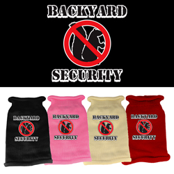 Back Yard Security Screen Print Knit Pet Sweater