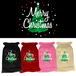 Scribbled Merry Christmas Screen Print Knit Pet Sweater