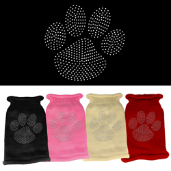 Clear Rhinestone Paw Knit Pet Sweater