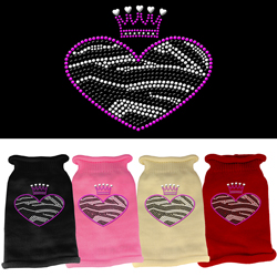 Zebra Heart Rhinestone Knit Pet Sweater