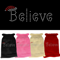 Believe Rhinestone Knit Pet Sweater