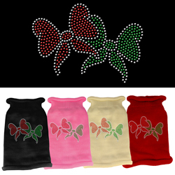 Christmas Bows Rhinestone Knit Pet Sweater