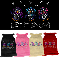 Let It Snow Penguins Rhinestone Knit Pet Sweater