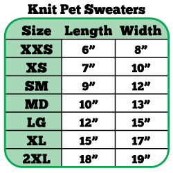 Mardi Gras Dog Sweater Sizing