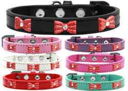 Red Glitter Bow Widget Dog Collars