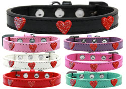 Red Glitter Heart Widget Dog Collars