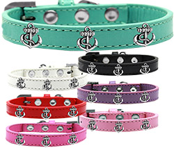 Silver Anchor Widget Dog Collar