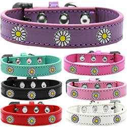 White Daisy Widget Dog Collar