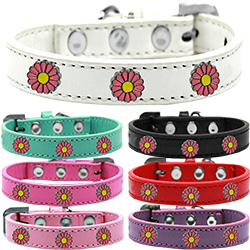 Pink Daisy Widget Dog Collar