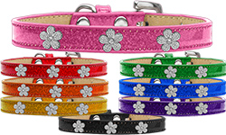 Silver Flower Widget Ice Cream Dog Collar