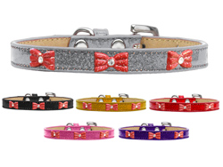 Red Glitter Bow Widget Ice Cream Dog Collars