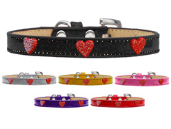 Red Glitter Heart Widget Ice Cream Dog Collars