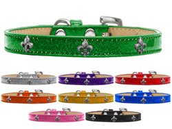 Silver Fleur De Lis Widget Ice Cream Dog Collars