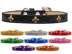 Bronze Fleur De Lis Widget Ice Cream Dog Collars