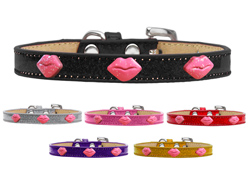 Pink Glitter Lips Widget Ice Cream Dog Collars