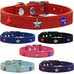 Red, White and Blue Star Widget Genuine Leather Dog Collar