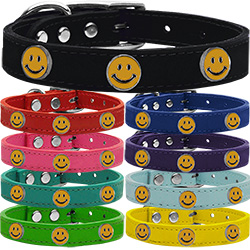 Happy Face Widget Genuine Leather Dog Collar