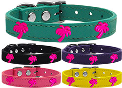 Pink Palm Tree Widget Genuine Leather Dog Collar