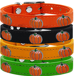 Pumpkin Widget Genuine Leather Dog Collar