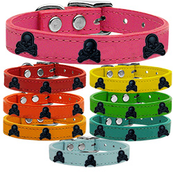 Skull Widget Genuine Leather Dog Collar
