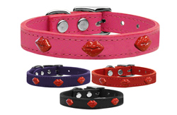 Red Glitter Lips Widget Genuine Leather Dog Collars
