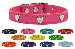 Silver Heart Widget Genuine Leather Dog Collars