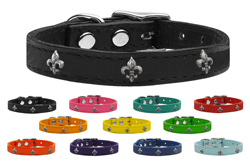 Silver Fleur De Lis Widget Genuine Leather Dog Collars
