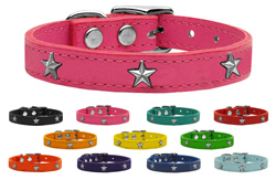 Silver Star Widget Genuine Leather Dog Collars