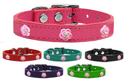 Bright Pink Rose Widget Genuine Leather Dog Collars