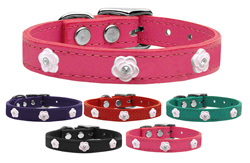 Light Pink Rose Widget Genuine Leather Dog Collars