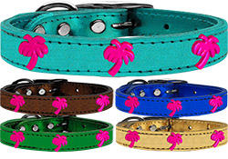 Pink Palm Tree Widget Genuine Metallic Leather Dog Collar