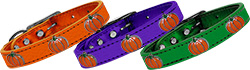 Pumpkin Widget Genuine Metallic Leather Dog Collar